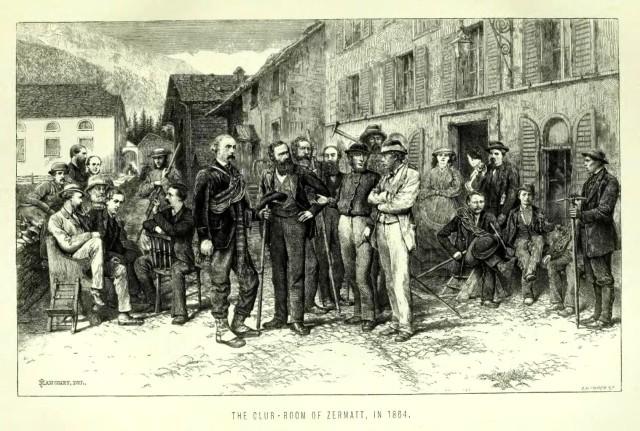 Reunión del Alpine Club en Zermatt (1864). El primero de la izquierda, sentado y con barba, es Leslie Stephen..jpg