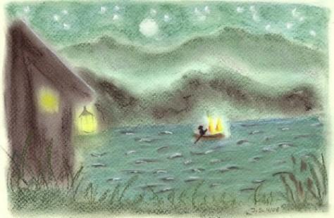 de-veerman-en-de-twee-dwaallichten-op-de-rivier-in-het-sprookje-van-Goethe